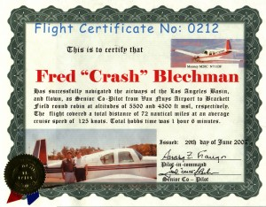 "Anarg Frangos awarded flight certificate no. 0212 to ""Crash"" a few days after the flight to Brackett Field."