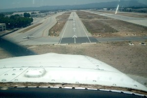 Approaching Runway 16L at Van Nuys Airport, we're less than 10 seconds from touchdown.