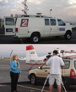 Reno's Channel 2 News broadcasts a live news update from Minden-Tahoe Airport.