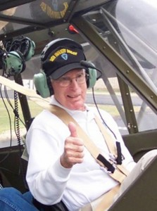 Maj. James R. Stegall flew the L-4 Grasshopper in WWII and the Korean War as an artillery observer. He recently had the chance to reacquaint himself with the aircraft type at a reunion in La Grange, Texas.