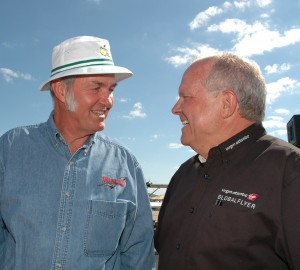 GlobalFlyer designer Burt Rutan (left) and pilot Steve Fossett visit before a media briefing at EAA AirVenture Oshkosh 2005.