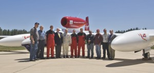 "After the arrival of the record-setting airplane at the Steven F. Udvar-Hazy Center, May 23, 2006, Steve Fossett (fifth from left), poses with J.R. ""Jack"" Dailey, NASM director (fourth from left), museum staff and GlobalFlyer's ground crew."