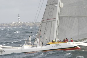 As the skipper of Cheyenne, Steve Fossett set the world record for fastest circumnavigation around the world in 2004. The official start/finish line of the World Sailing Speed Record Council is at the French island of Ouessant.