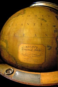 Juan T. Trippe, Pan American Airways founder and president, used this 19th-century globe in his New York office to plan routes around the world. Pan American Airways' publicity prominently featured the globe.