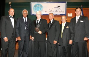 L to R: Capt. Daniels, Col. Bluford, Maj. Gen. Bolden, Ed Dwight Jr. and Dave Aguilera present the Ed Dwight Jr. Award to high school science teacher Alan Godman (third from left).