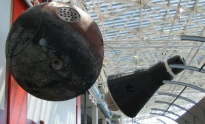 Full-scale replicas of Russia's Sputnik I, a NASA Mercury space capsule and a real Russian space capsule that traveled into space are part of The Museum of Flight's space exploration exhibit.