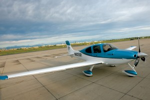 Sky Shares' new Cirrus SR22-GTS, beautifully painted, glowed in the morning sun.