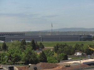 A panoramic view of the Dulles Jet Center shows the adjacent General Dynamics building, also equipped with the unique EagleSpan trusses.