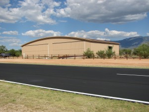 A private hangar in Tucson, Ariz., is currently EagleSpan's largest curved-roof clear-span at 150 feet.
