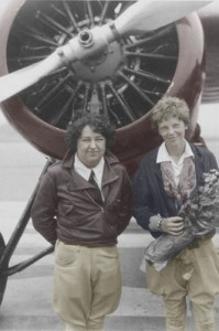 "Pancho Barnes (left) and fellow aviatrix Amelia Earhart were both rivals and friends. Behind them is the Lockheed Vega Earhart flew in the 1929 ""Powder Puff Derby,"" a race that ended for Barnes when her airplane crashed in Waco, Texas."