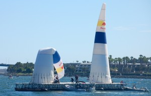 Red Bull specialists had to repair a race pylon demolished by Mike Mangold's plane during qualification.