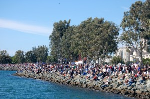 Thousands of spectators lined the shoreline of San Diego's Embarcadero Park.