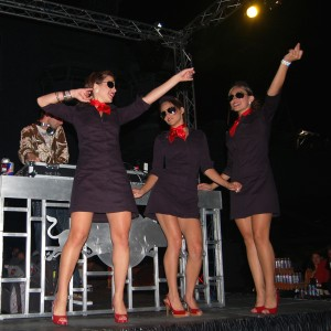 "Staff members of the Red Bull Energy Team danced the night away at the sold out ""Red Bull Friday"" party on the deck of the USS Midway (CV-41)."