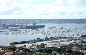 Passengers of more than 500 boats anchored outside the perimeter of the racecourse got a nautical view of the action taking place over San Diego Bay.