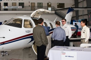 Dr. William Miller and Chris Gables explained the benefits of Jet Alliance's fractional ownership program for their new Eclipse 500LX.
