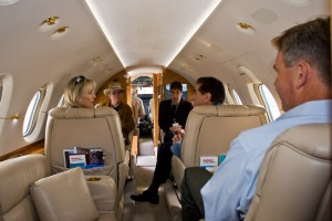 Doug Geise (right) described the features of the Hawker 850XP.