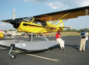 Aircraft on static display included this Aviat Husky on PK floats.