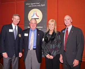 "L to R: Ron Kaplan, NAHF executive director; Pat Epps, Epps Aviation; Marilyn Thompson; and Joe Ponte, NAHF trustee, convene at the NAHF reception. Epps was the recipient of the 2007 NBAA John P. ""Jack"" Doswell Award."