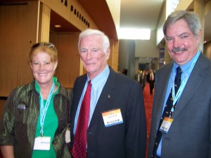 John Gates (right) and Diane G. Wallach (left) visit with Gene Cernan, who participated in the presentation of the Combs Gates Award.