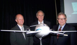 L to R: Piaggio America CEO Eric Hinson, Piaggio Aero CEO Jose Di Mase and Piaggio America Chairman Tom Appleton made announcements about the P.180 Avanti II. Capable of flying 1,700 nm at 402 ktas, the aircraft will cruise at altitudes up to 41,000 feet.