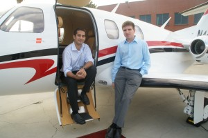 "Cyrus Sigari (left) and Ben Marcus, cofounders of jetAVIVA, vow to give ""jet for life"" services as the world's first full-service management company for private owners of Eclipse 500 jets. Sigari is president and Marcus is CEO."