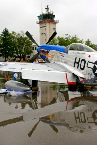 Tom Blair, from Gaithersburg, Md., owns Slender, Tender & Tall, a beautifully restored P-51 D Mustang complete with drop tanks.