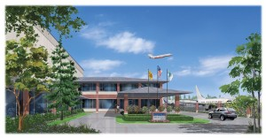 Arnold Savarin's rendering depicts what the Castle & Cooke Aviation facility at Everett Jet Center will look like.