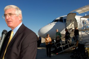 Mesa Mayor Keno Hawker greeted passengers after they arrived on the inaugural flight from Cedar Rapids, Iowa.