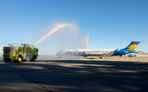 Allegiant Air's inaugural flight to Sioux Falls, S.D., received a water cannon salute by the airport fire department before takeoff.
