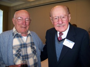 """Bill Bower, one of 11 remaining flight crewmembers from the Doolittle Raid over Tokyo, Japan during World War II, meets with Bob Hoover, who was a good friend of Gen. James """"Jimmy"""" Doolittle."""