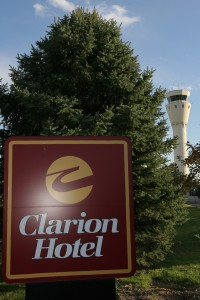 Clarion Hotel Denver South is located across the street from the Centennial Airport tower.