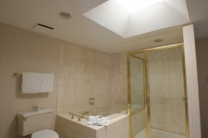The executive suites boast skylights in every bathroom.