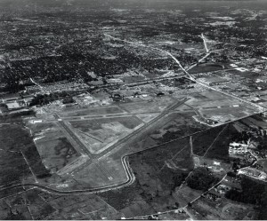 Community encroachment on TEB has forced the closure of Runway 32 (lower middle), shown in this 1960 photo. Today the community is as close to the airport as zoning will permit.