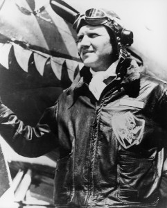 "Lt. Col. Tex Hill took command of the 23rd Fighter Group in November 1943. After this P-51A was assigned as his personal plane, his crew chief decorated it with shark's teeth and painted ""The Bullfrog,"" his pet name for his wife, on the side of the engine"