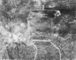 Lt. Col. Tex Hill led the highly successful 1943 Thanksgiving Day raid on Shinchiku Airfield, Formosa, responsible for shooting 15 enemy aircraft out of the air and burning more than 40 bombers on the ground. This photo of the was taken just afterward.