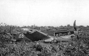 "Following an attempted night intercept of Japanese bombers on Dec. 10, 1941, Tex Hill landed ""long"" in #48. The P-40 left the apron, bouncing over broken ground and crashing through undergrowth before the aircraft came to a stop."