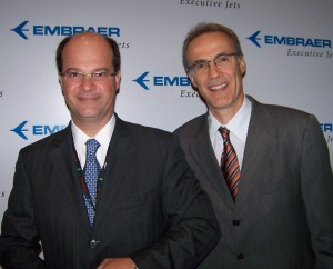 Embraer pres. and CEO Frederico Fleury Curado (left) and Luis Carlos Affonso, exec. vp, executive jets, displayed the concepts of revolutionary mid-size and mid-light jets from Embraer, the largest manufacturer of commercial jets up to 120 seats.