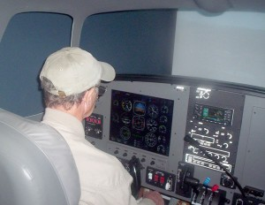 After I crashed a couple of times in Hollywood Aviators' FTD, private pilot Peter Helms (shown), had little trouble operating it properly. Jay McDaniel, a computer flight simulator programmer, flew it perfectly. I must be getting rusty!