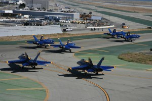 Though few ever see this part of the Blue Angels precision demonstration, the team still taxis out for takeoff in formation.