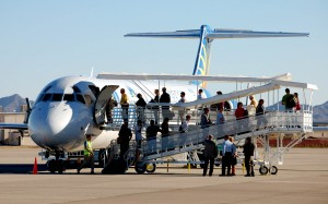 Passengers board Allegiant Air's first flight to Sioux Falls, S.D.