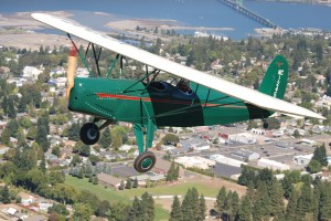 This 1937 Fairchild 22C7B flying over Hood River, Ore., is one of more than a dozen aircraft in the museum's collection representing the 1930s.
