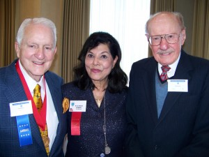 Bob Hoover spends time with Bea Khan Wilhite, Colorado Aviation Historical Society president, and CAHF honoree Carl Williams, a cable pioneer who has a passion for aviation.