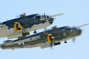 Two B-25 Mitchell bombers, Heavenly Body and Executive Sweet, took part in the Doolittle Raiders reenactment.