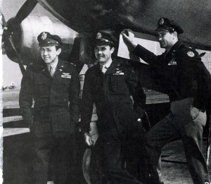 Col. Paul W. Tibbets (center) recruited Capt. Theodore J. Van Kirk (left) as navigator and Maj. Thomas W. Ferebee as bombardier from his former B-17 crew.