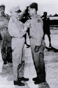 Gen. Carl Spaatz decorated Col. Paul W. Tibbets Jr. with the Distinguished Service Cross immediately upon his return to Tinian Island on Aug. 6, 1945.