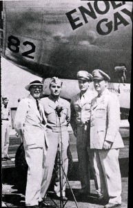 "The Enola Gay was turned over to the Smithsonian Institution in 1949. Left to right are Carl Mitman (representing the Smithsonian), Col. Paul Tibbets, Maj. Thomas Ferebee and Maj. Gen. Emmett ""Rosie"" O'Donnell."