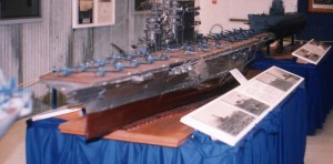 This model of the USS Lexington aircraft carrier, like all the models at the hands-on Palm Springs Air Museum, is uncovered and open to the public.