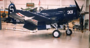 Bob Pond purchased this Vought FG-1D Corsair for his collection in 1983. It was built in 1957 and carries the markings of the carrier USS Essex.