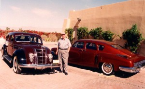 Much of Bob Pond's exquisite collection is kept at the Palm Springs Air Museum, where the automobiles help set the pre-WWII scene. This 1935 Chrysler AirFlow and rare 1948 Tucker are examples of his collection.