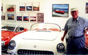 This 1954 Corvette and mid-1960s Jaguar E type are part of Bob Pond's automobile collection.